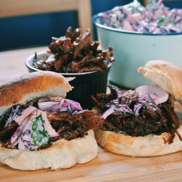 ASIAN BBQ SHREDDED BEEF BUNS & PURPLE MALIBU COLESLAW (BUZZ MAGAZINE)