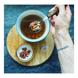CHICKEN & BLACK EYED PEA BROTH WITH CRISPY BACON & DATES