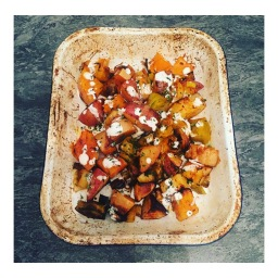 ROAST SQUASH & LEEKS WITH THYME AND BUTTERMILK SAUCE