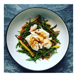 LIME SOY COD WITH HONEY SPICED SAMPHIRE