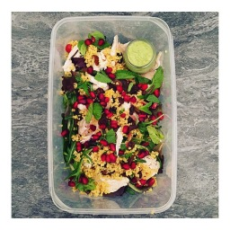 CHICKEN POMEGRANATE COUSCOUS LUNCHBOX WITH MINT AVOCADO DRESSING