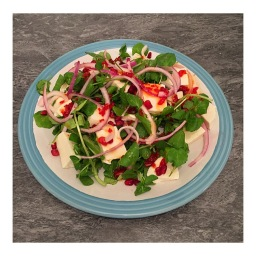 MOZZARELLA & POMEGRANATE SALAD WITH SWEET CHILI SAUCE