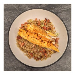SRI LANKAN FISH  WITH CURRIED CASHEW CAULIFLOWER RICE