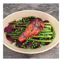 HONEY SOY GLAZED SALMON WITH BEETROOT & ASPARAGUS SALAD