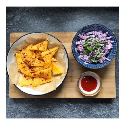 FRIED POLENTA WITH COCONUT SLAW