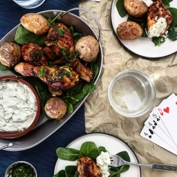 BEER & CARAWAY GLAZED CHICKEN WITH MINI JACKETS & BLUE CHEESE SAUCE