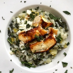SPINACH RISOTTO WITH BAKED FETA & MINT