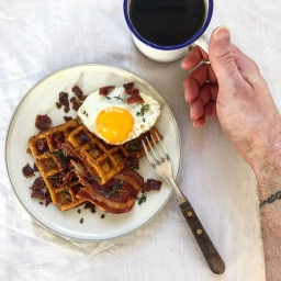 SQUAFFLES WITH BAKED MAPLE BACON
