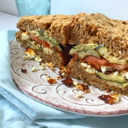 TOMATO, COURGETTE & BAKED FETA SANDWICH WITH MISO MAYO