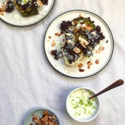 ROAST BABY GEMS WITH BLACK RICE & LIME COCONUT YOGURT