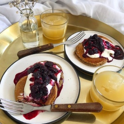 BLUE POPPY SEED PANCAKES WITH SUMAC CHERRY SAUCE