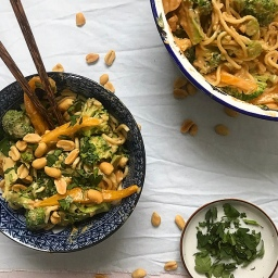 COLD BROCCOLI NOODLE SALAD WITH PEANUT SAUCE