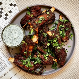 SPICED LAMB RIBS WITH MINT COCONUT YOGURT