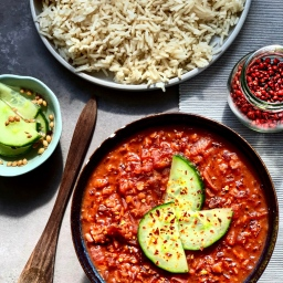 BEETROOT & COCONUT DAL WITH QUICK CUCUMBER PICKLES